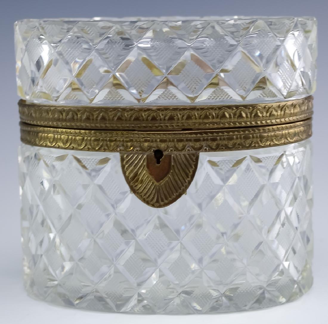 Baccarat Style Bronze Mount Cut Crystal Casket Box