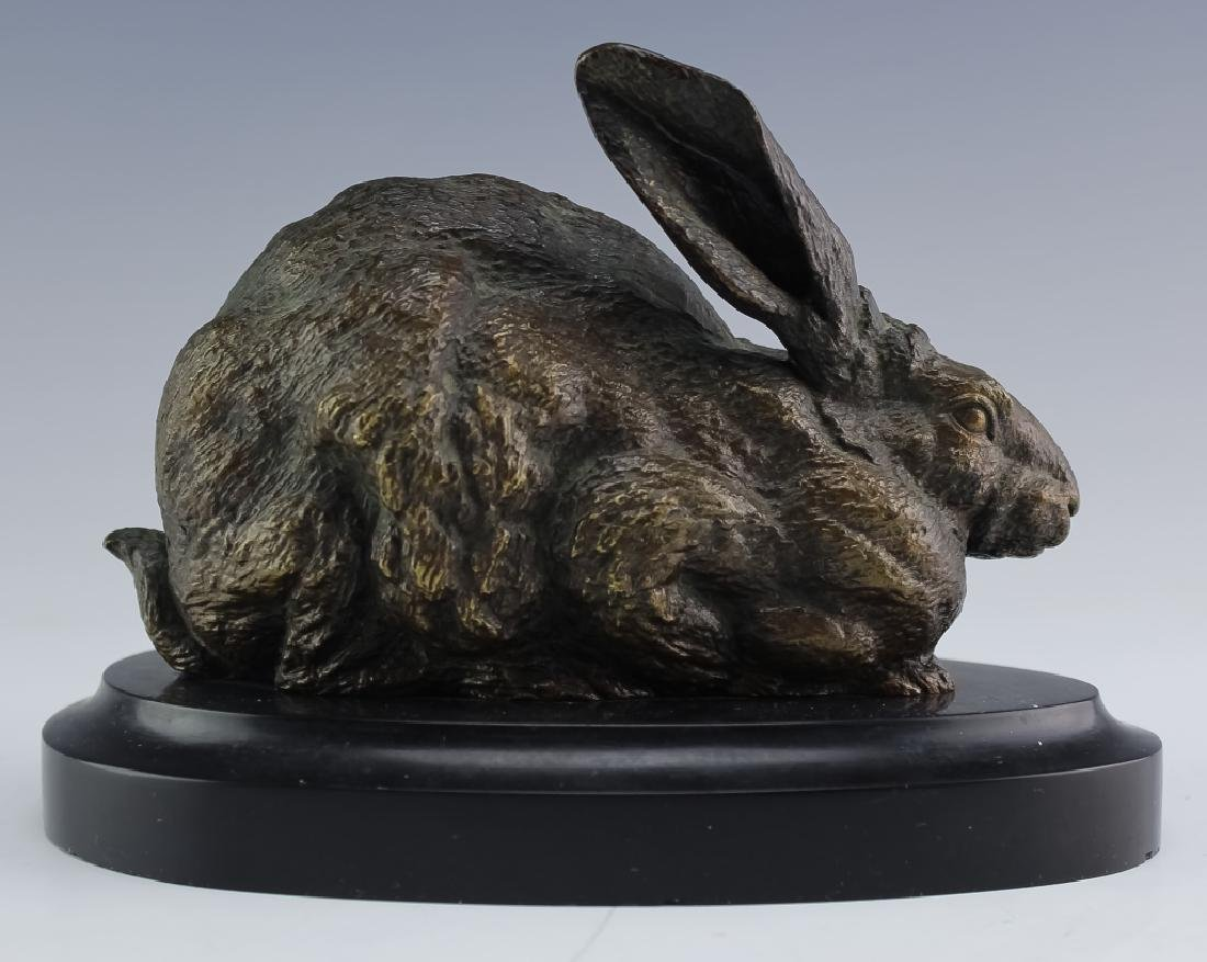 Ferdinand Pautrot 19c Bronze Hare Rabbit Sculpture