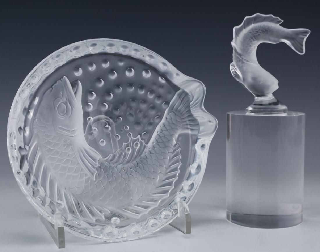 2 Lalique French Koi Fish Bowl & Fish Figurine LOT