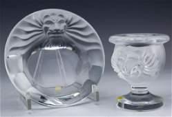 Lalique French Crystal Lion Bowl Cigarette Holder