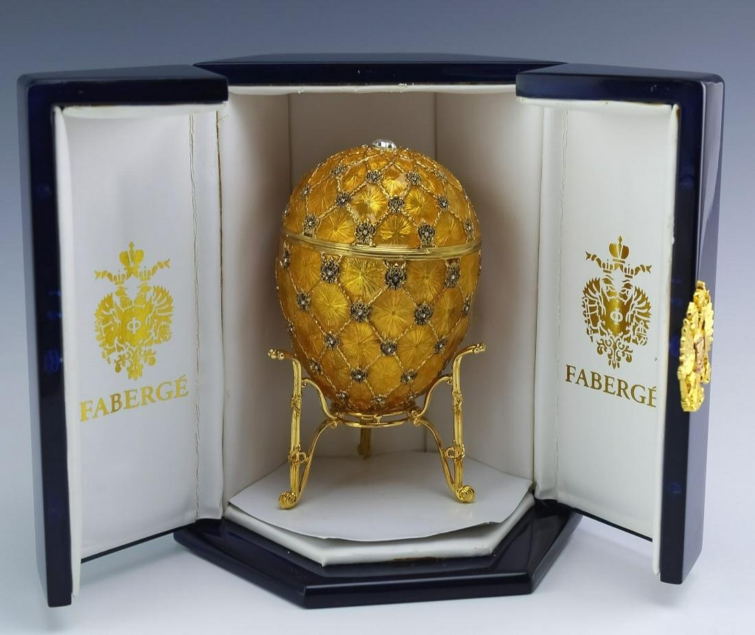 Faberge Gold Gilt, Enamel Guilloche Coronation Egg
