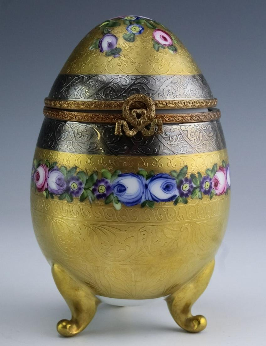 Fine Limoges French Porcelain Hand Painted Egg Box