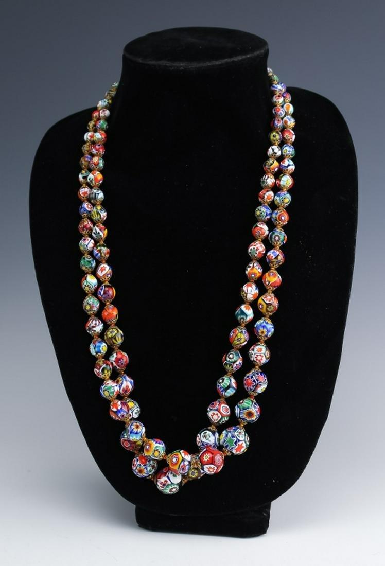 2 Italian Millefiori Murano Glass Bead Necklaces
