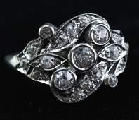 Art Deco 14K White Gold 3/4 CTTW Diamond Ring Sz 7