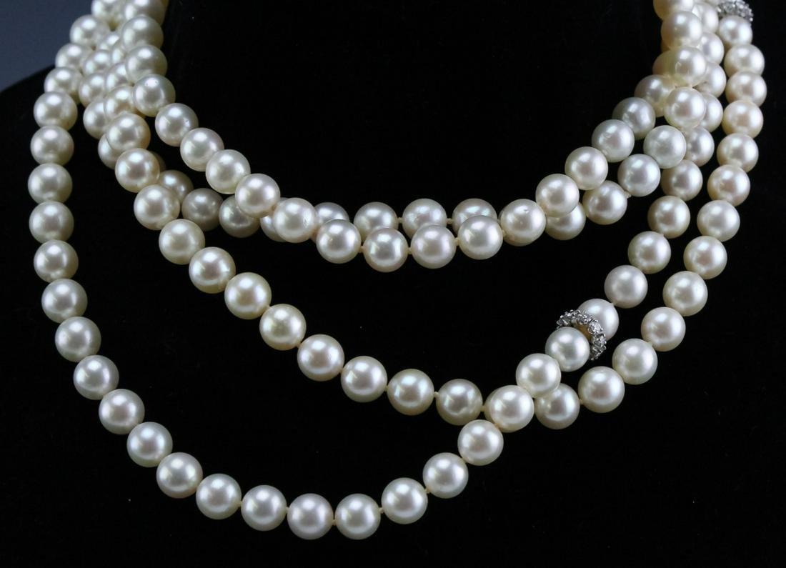 "65"" Akoya Pearl & Diamond Platinum Lariat Necklace"