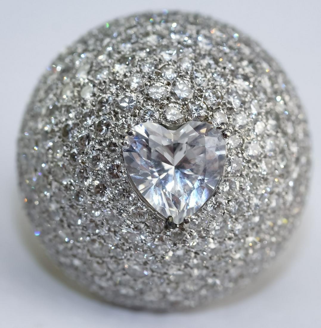 18K Gold 4 CTTW Diamond Dome Ring w/ Heart Stone