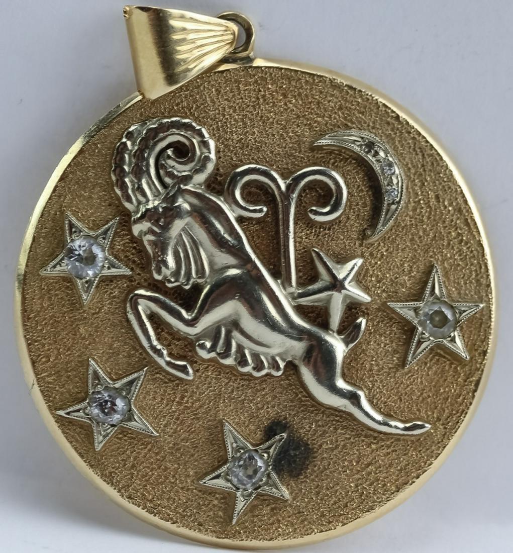 VTG 14K Two Tone Gold Diamond Aries Zodiac Pendant