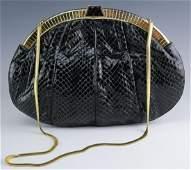 Judith Leiber Minaudiere Snake Skin Clutch Handbag