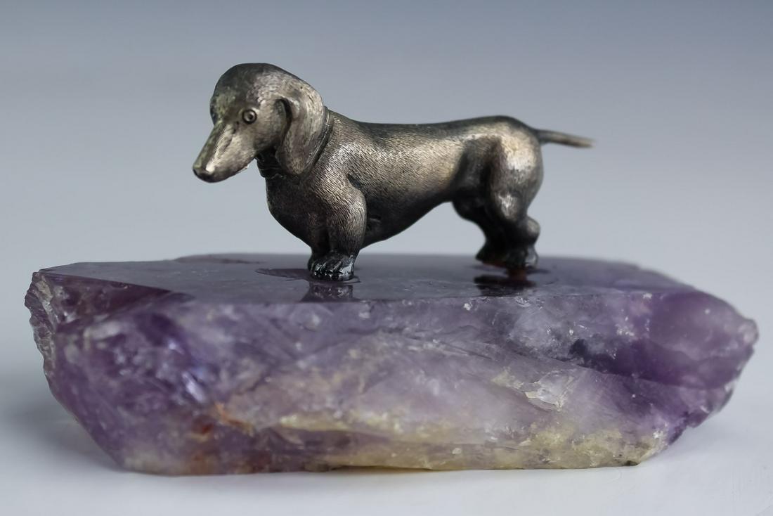 German 800 Silver Dachshund Dog Sculpture Amethyst
