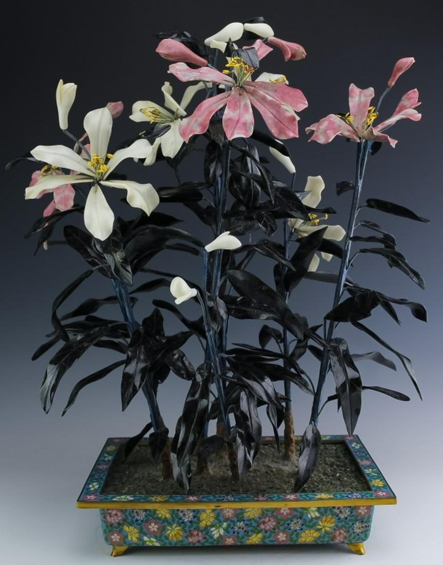 Chinese Hardstone Jade Tree in Cloisonne Planter