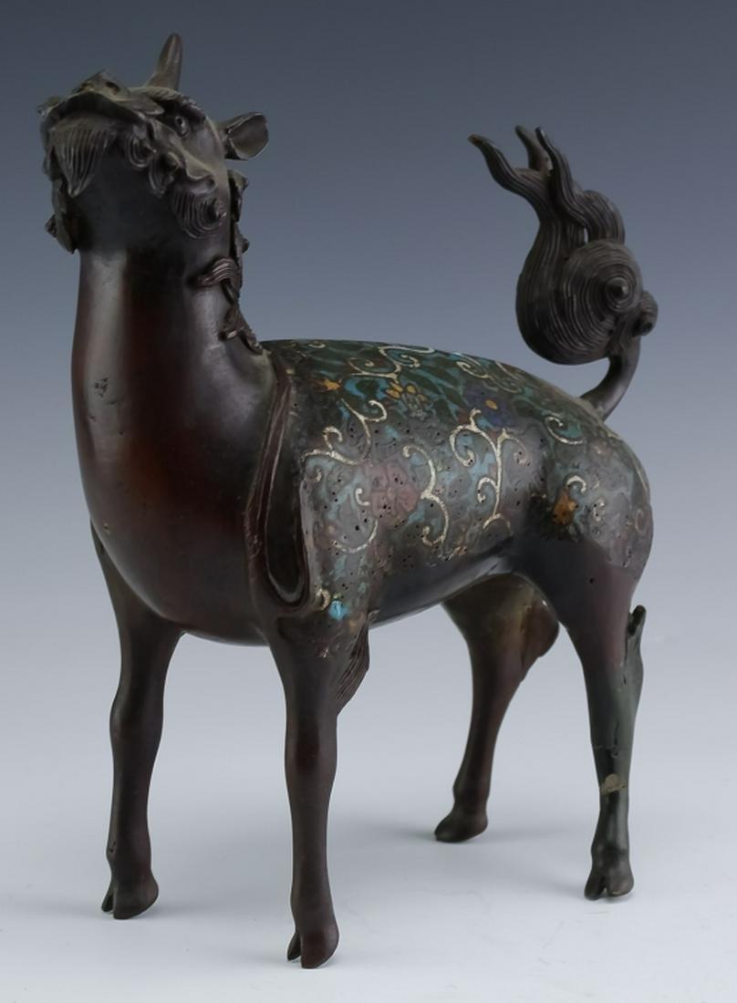 Old Chinese Enamel Cloisonne Bronze Qilin Kirin
