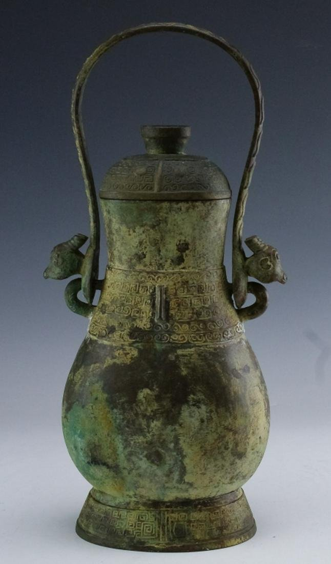 Antique Chinese Archaic Bronze Ritual Wine Vessel