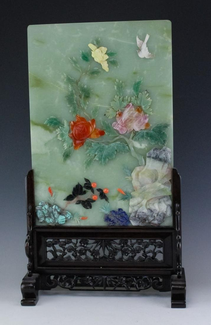 Fine Chinese Multi Stone Inlay Jade Table Screen