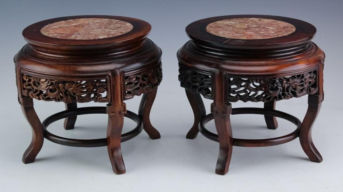 Chinese Pair of Carved Wood Dragon & Marble Stands