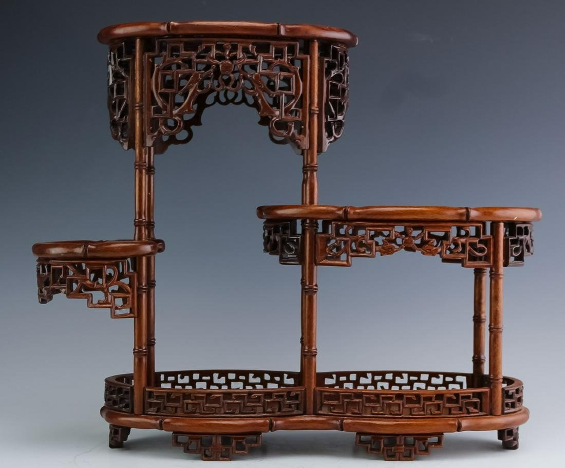Old Chinese Reticulated Zitan Wood Tiered Shelf