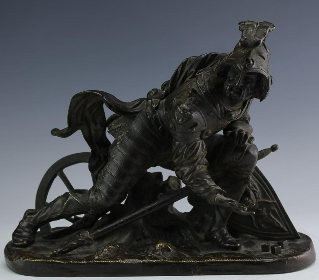 Fine Antique Bronze Sculpture Of A Soldier w/ Dice