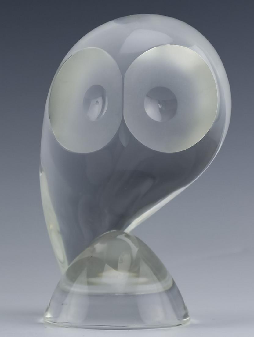 Steuben American Studio Art Glass Modernist Owl
