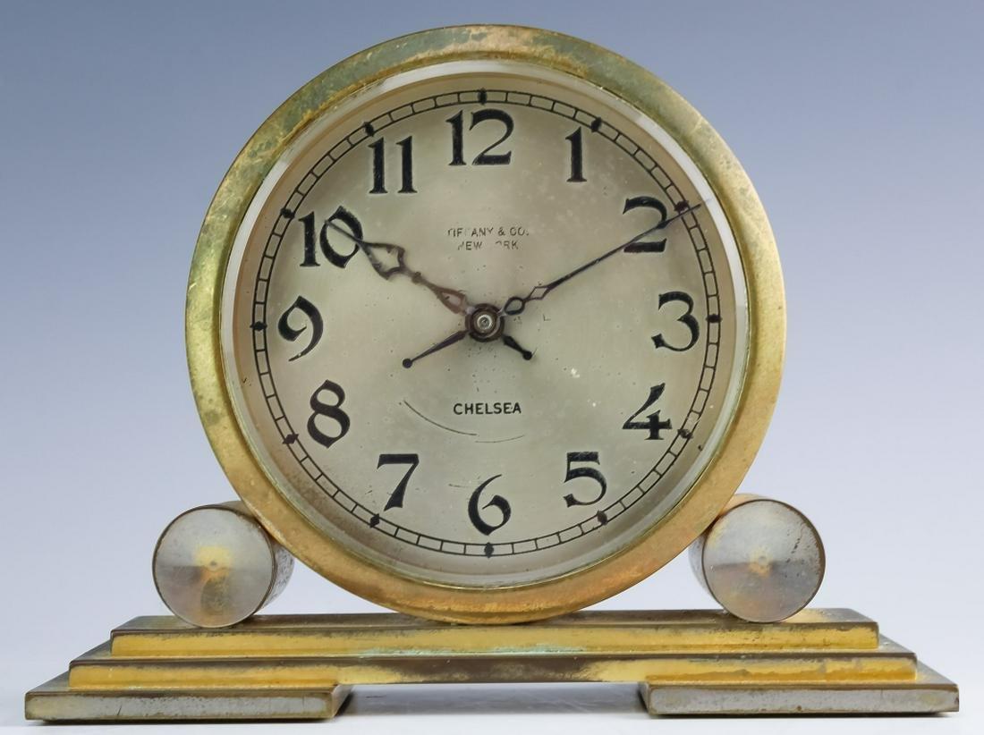 VTG Tiffany & Co Chelsea Bronze Mantle Desk Clock