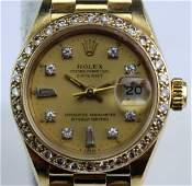 Rolex Watch 18K Gold Date Just Diamond Bezel Dial