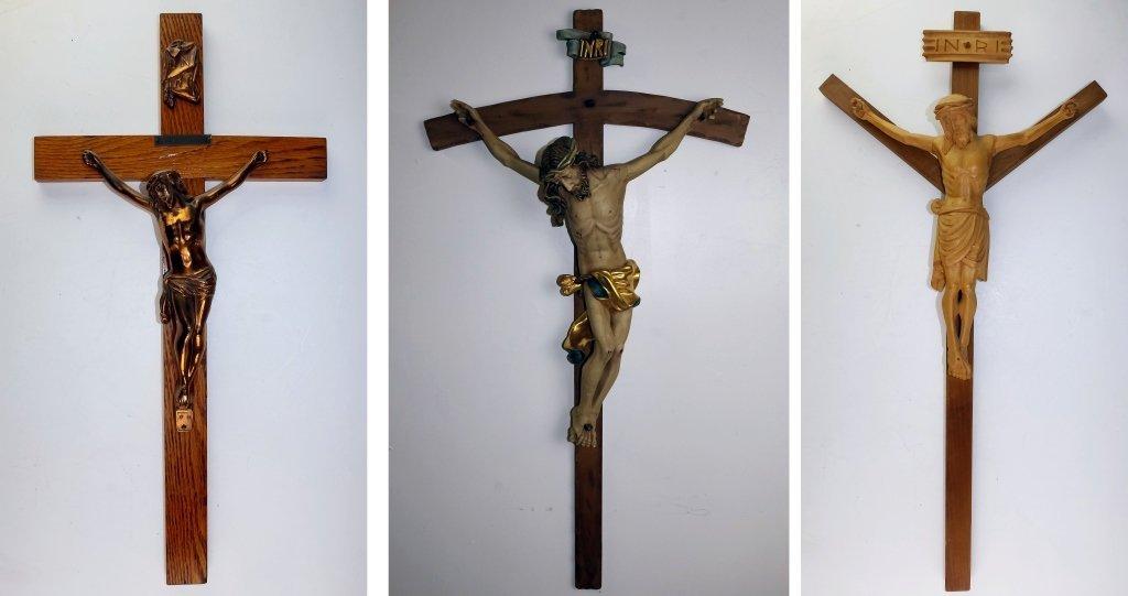 Lot Of 3 Large Wood, Plaster & Metal Crucifixes