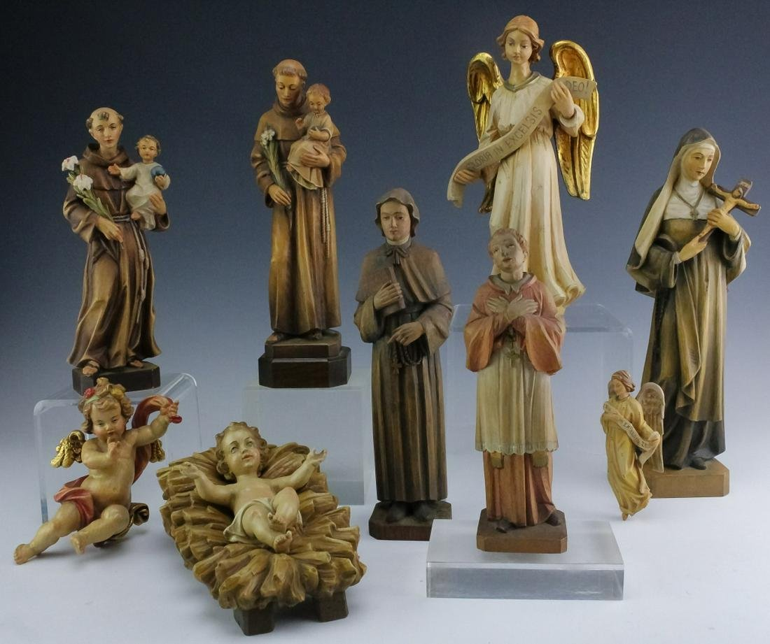 8 Carved Italian Carved Wood Religious Sculptures