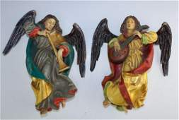 Pair Anri Italian Hand Carved Wood Hanging Angels