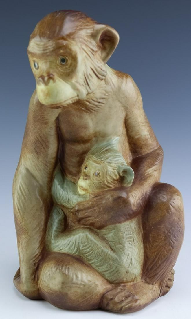Rare Lladro Spain Porcelain Gres Monkey & Baby