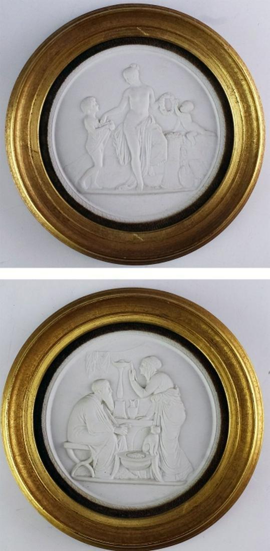 Pair Royal Copenhagen Porcelain Relief Plaques