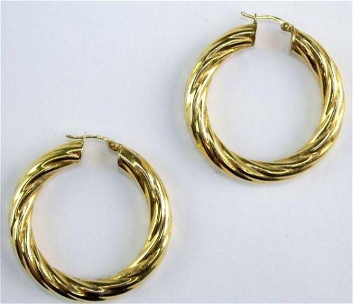Las Clic Large 14k Yellow Gold Hoop Earrings