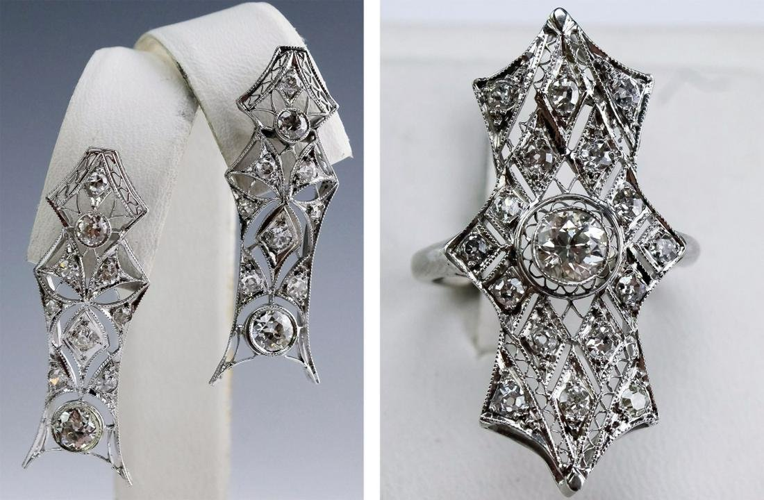 Deco Platinum, 14K 2.5 CTTW Diamond Earrings, Ring