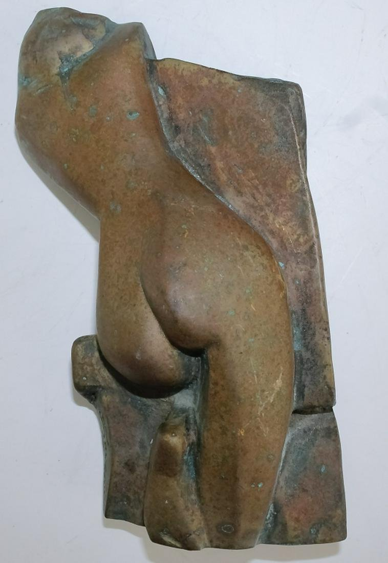 Signed Bronze Modernist Nude Woman Art Sculpture