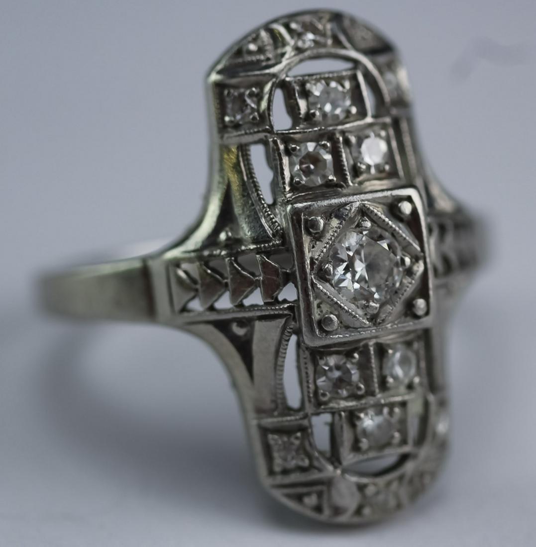 Art Deco Platinum .25 CTTW Diamond Gemstone Ring
