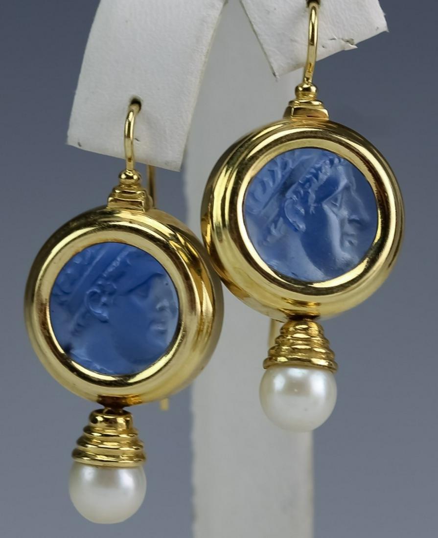 Italian 18K Blue Cameo Glass, Akoya Pearl Earrings