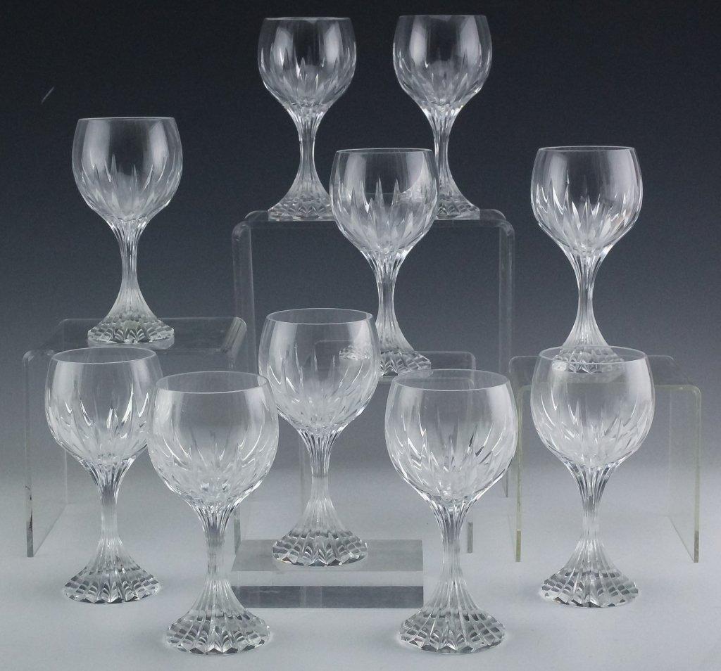 10 Baccarat Massena Crystal Claret Wine Glasses