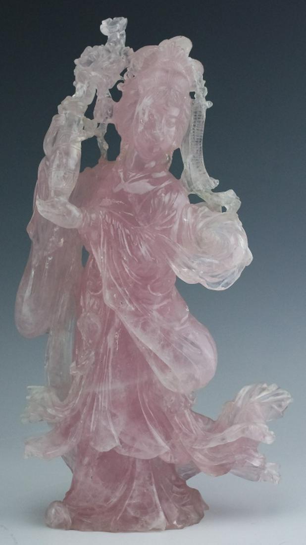 Chinese Carved Pink Rose Quartz Quan Yin Sculpture