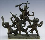 Antique Thai Bronze Warrior Deities Art Sculpture