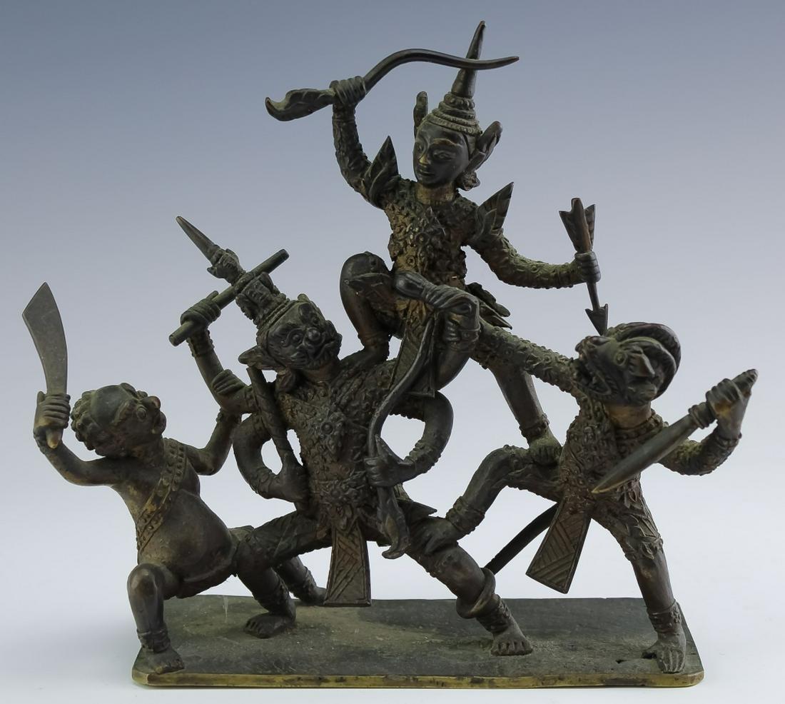 Antique Thai Bronze Warrior Deities Art Sculpture