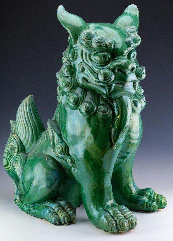 Large Chinese Green Glaze Pottery Foo Dog Statue