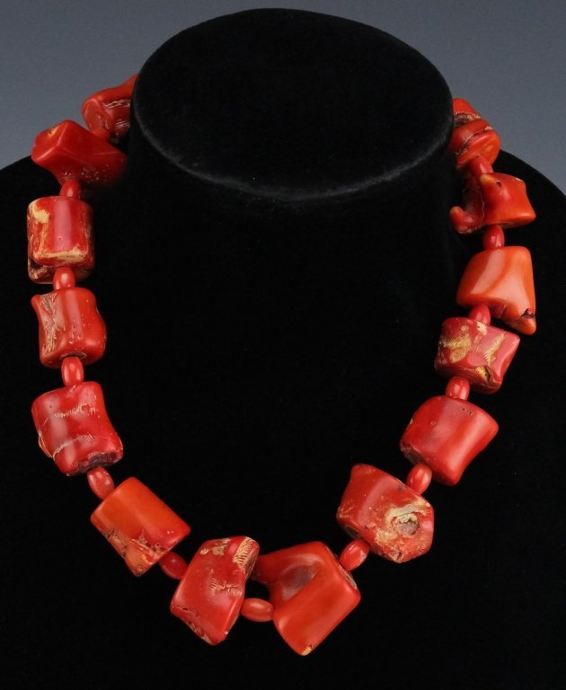 """Vintage Asian Red Coral Nugget Bead 19"""" Necklace"""