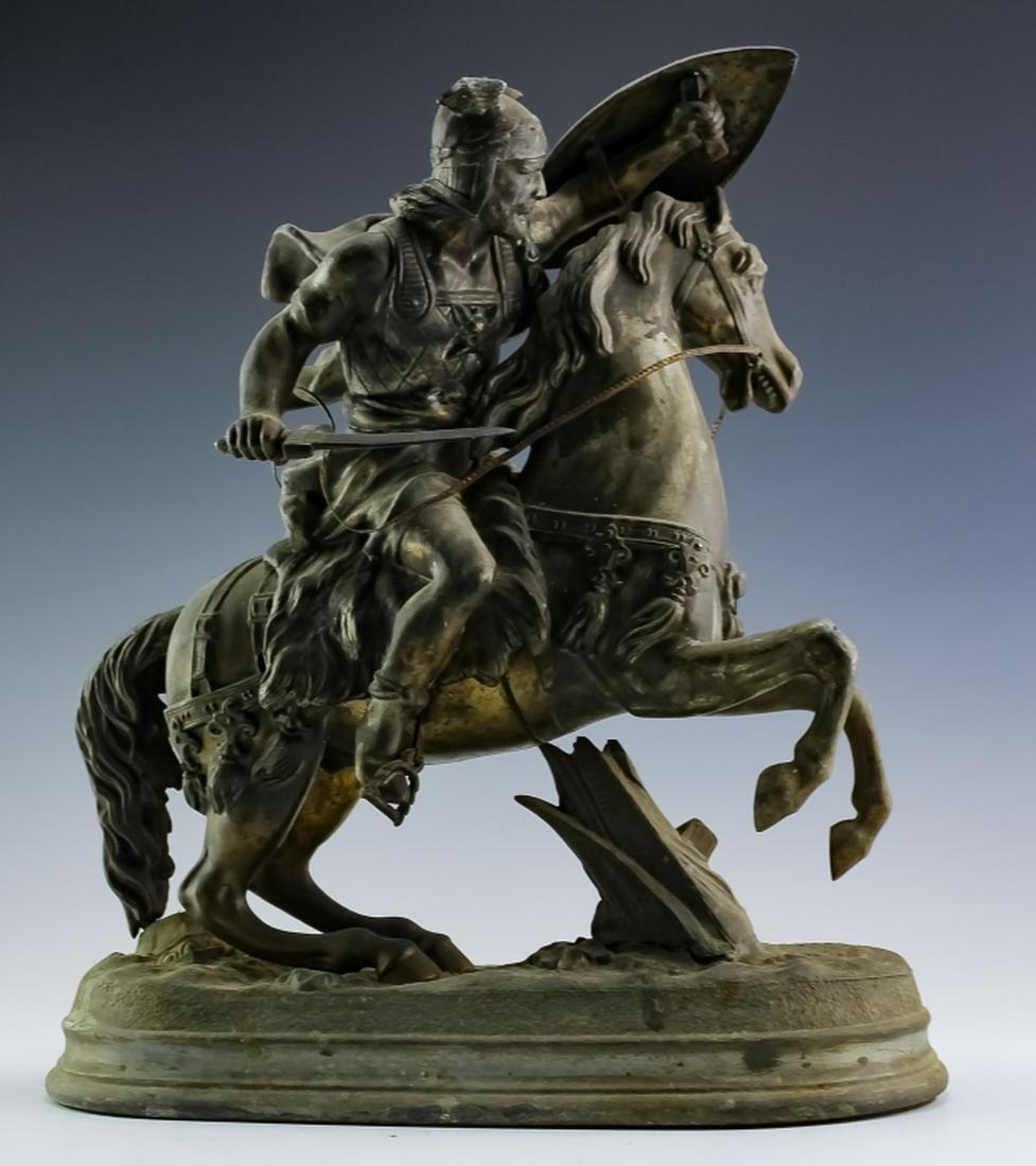 Figural Metal Viking Horseback Warrior Sculpture