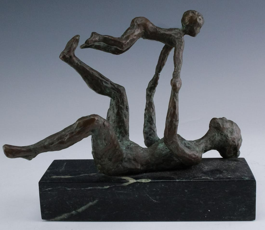 Figural Modernist Bronze Mother & Child Sculpture