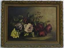 Mystery Artist Floral Rose Still Life Oil Painting