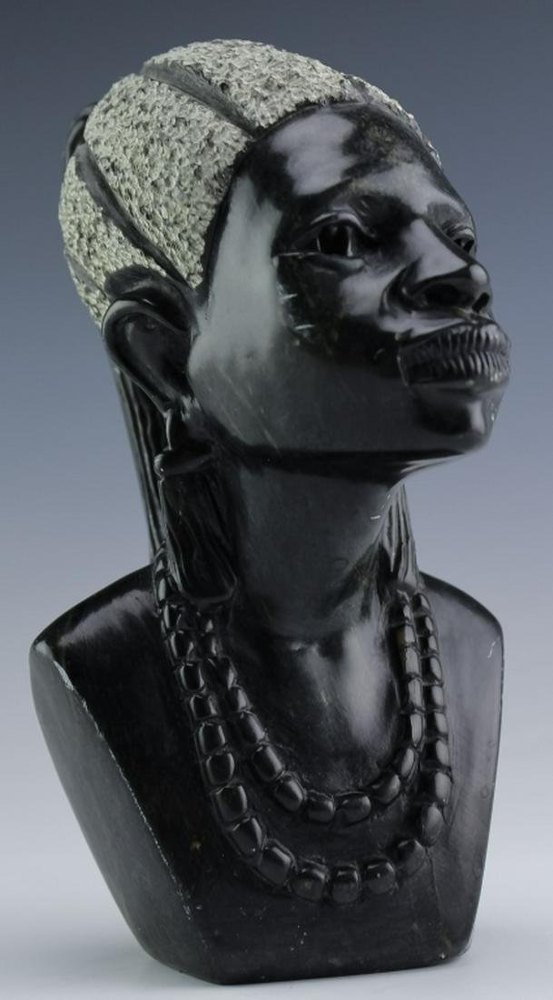 African Female Bust Shona Zimbabwe Art Sculpture