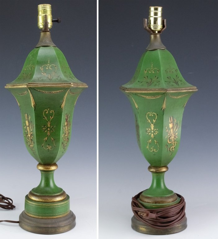 2 Vintage French Polychrome Ceramic Boudior Lamps