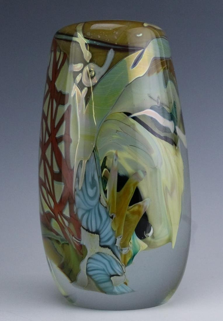 Mark Russel American Abstract Swirl Art Glass Vase