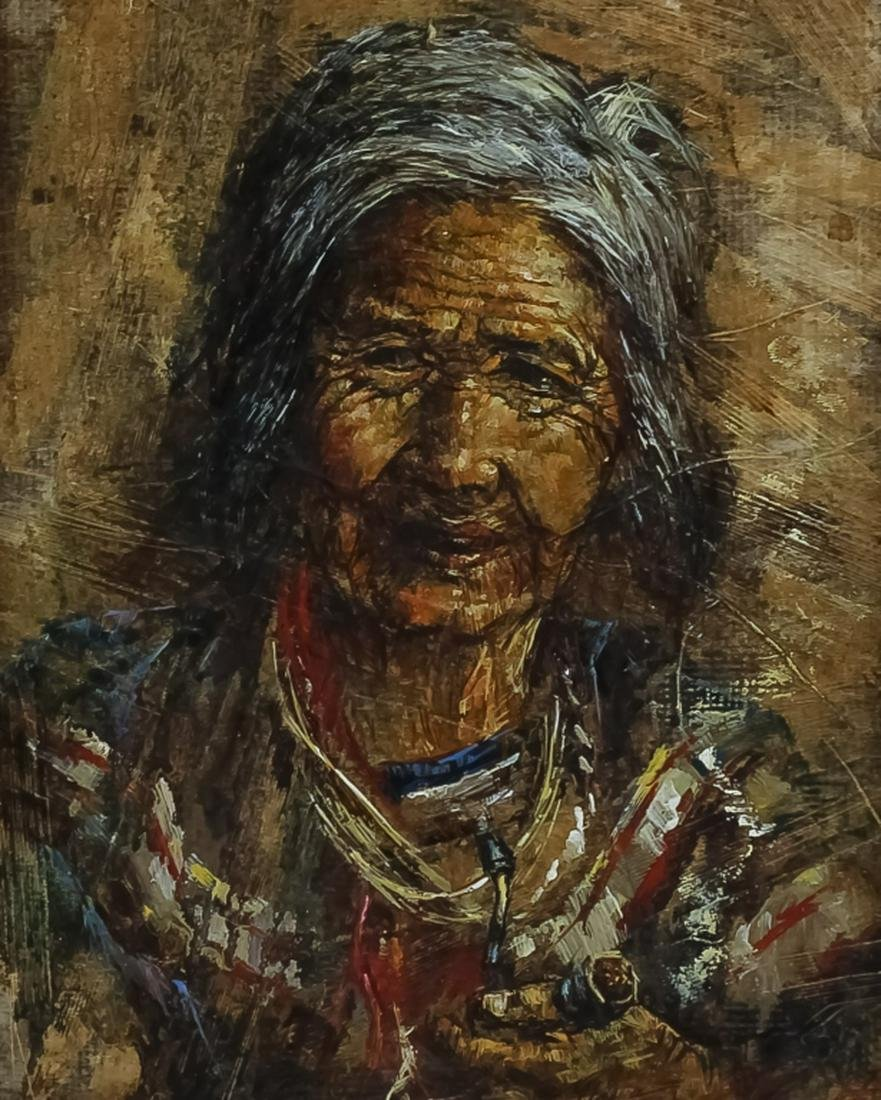 Mystery Art? American Navajo Indian Woman Painting