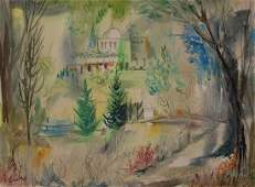 Jean Dufy French Landscape Watercolor Art Painting