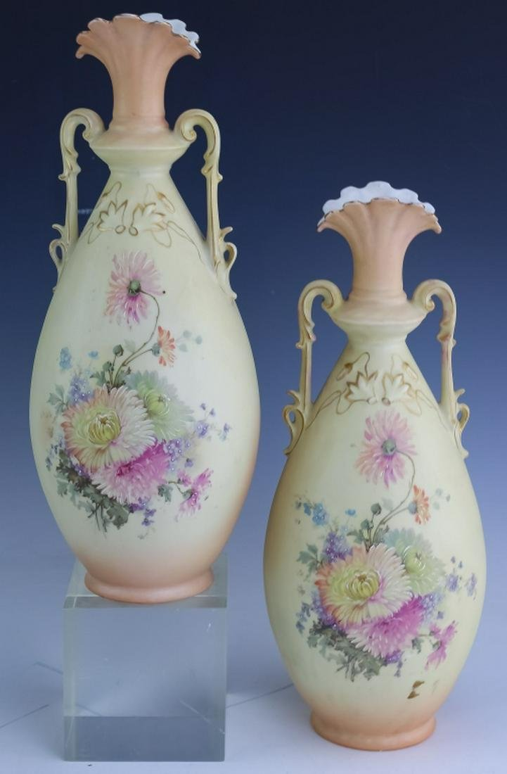 Pair Antique Floral Painted Double Handled Vases