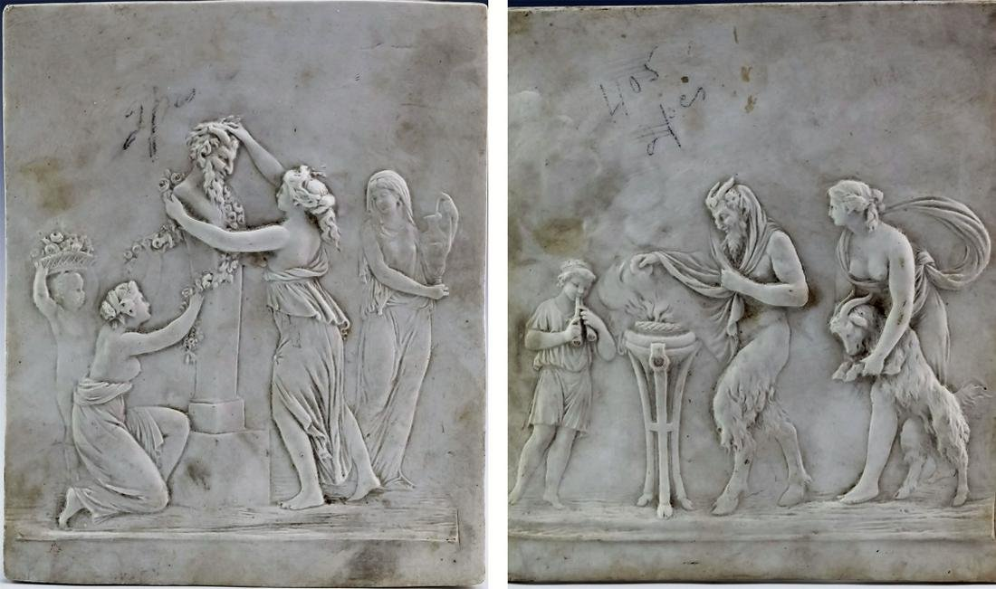 Pr Antique Satyr Figural Porcelain Relief Plaques