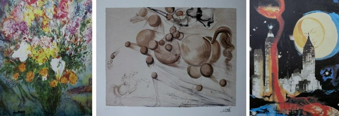 Lot of 3 Lithograph Prints By Marc Chagall & Dali
